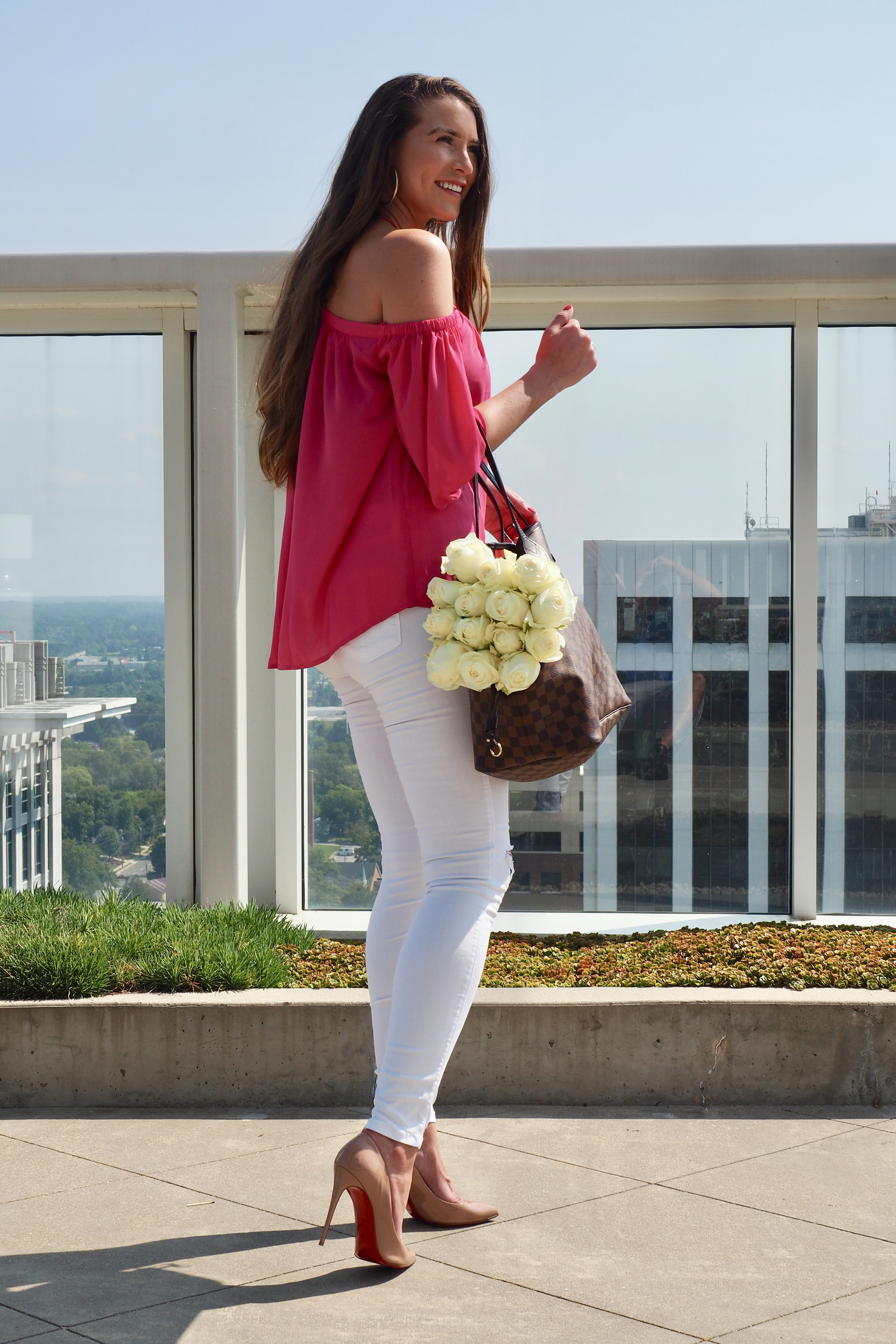 313713f4a6a38 PRETTY PINK TOP+MOST AMAZING WHITE JEANS – jamesbrownblog